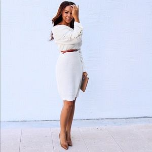 White Off The Shoulder Sweater Dress